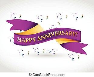 purple happy anniversary ribbon illustration design over a...
