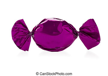 Close-up shot of a hard candy wrapped in shiny candy wrapper over white background.