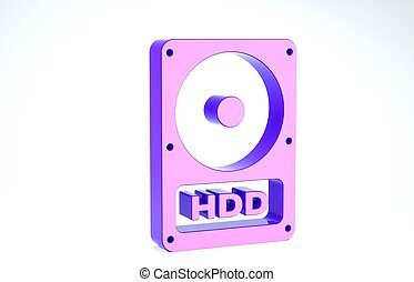 Purple Hard disk drive HDD icon isolated on white background. 3d illustration 3D render