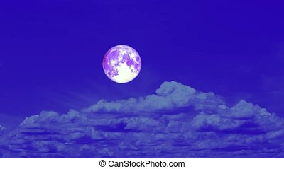 purple harvest moon pass rolling cloud on night sky time lapse