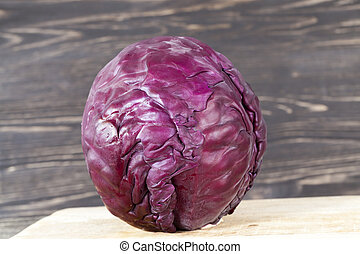 Purple head of cabbage table
