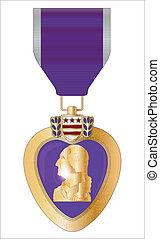 Purple Heart Medal - A purple heart medal isolated on a...