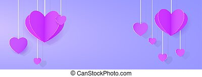 Purple heart-shaped festoon banner