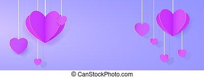Purple heart-shaped festoon banner