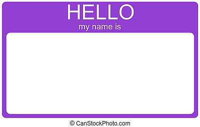 A purple name tag with the words Hello My Name Is and a blank white space for your name or text.