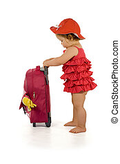 Purple holiday trip - Little girl in purple dress and hat, ...