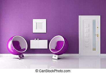 purple  home entry foyer