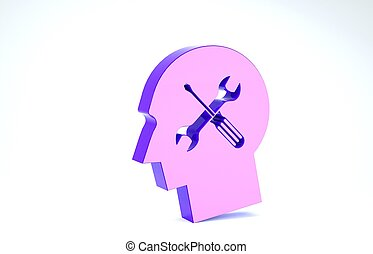 Purple Human head with with screwdriver and wrench icon isolated on white background. Artificial intelligence. Symbol work of brain. 3d illustration 3D render