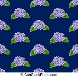 Purple Hydrangea Flower Seamless on Indigo Blue Background