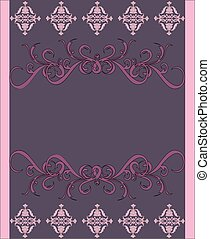 Purple invitation with floral background and place for text