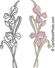 Purple Iris - Vector art in Illustrator 8. Hand-drawn in ...