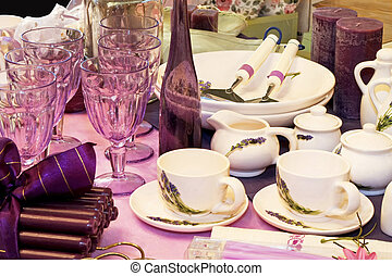 Purple and lavender color set table and kitchenware