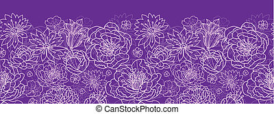 Purple lace flowers horizontal seamless pattern background border