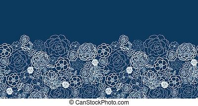 Purple lace flowers horizontal seamless pattern border