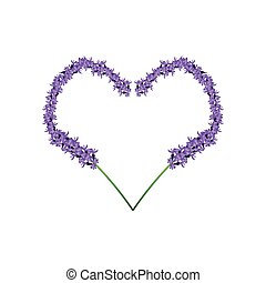 Purple Lavender Flowers in Heart Shape Frame - Love Concept,...