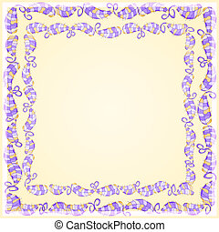 Purple Leaf Frame on Yellow Background