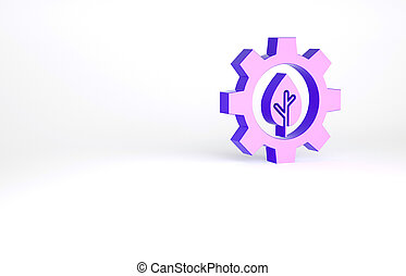 Purple Leaf plant ecology in gear machine icon isolated on white background. Eco friendly technology. World Environment day label. Minimalism concept. 3d illustration 3D render