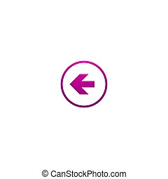 Purple left arrow in circle. flat icon. Isolated on white. Continue icon.