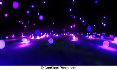 purple light balls falling