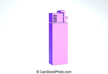 Purple Lighter icon isolated on white background. 3d illustration 3D render