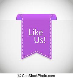 purple Like us label vector. Vector illustration, EPS 10