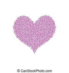 Purple Lilac or Syringa Vulgaris in A Heart Shape