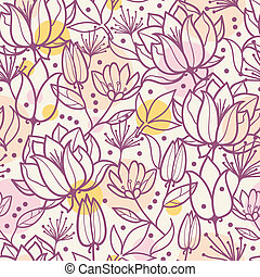 Purple line art flowers seamless pattern background - Vector...