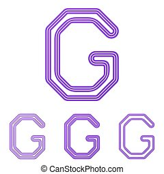 Purple line g logo design set