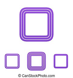 Purple line square logo design set