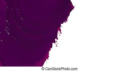 purple liquid flows and fills screen slow motion. Colored...