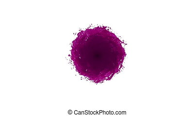 Purple Liquid tornado on white background. Beautiful colored paint is whirling. Isolated transparent vortex of liquid like car paint, 3d animation with alpha matte. Version 3