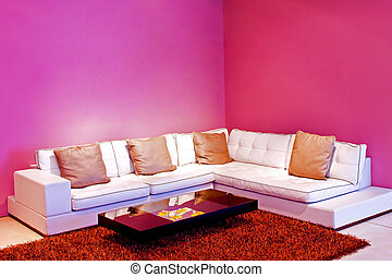 Purple living - Interior of living room with purple walls