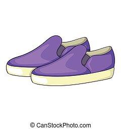 Purple loafers icon, cartoon style