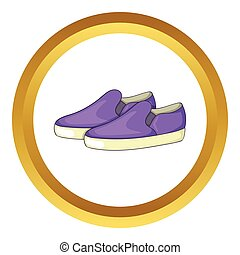 Purple loafers vector icon