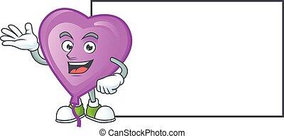 Purple love balloon with whiteboard cartoon character style