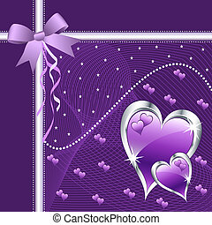 Purple love hearts and bow for valentines day or any romantic event. Copy space for text.