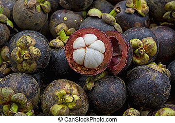 Purple Mangosteen on Fruit Stand in Tropical Country