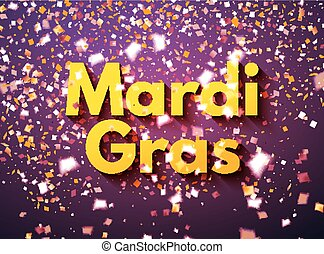 Purple Mardi Gras celebration banner or greeting card with flying golden and white confetti, some are out of focus