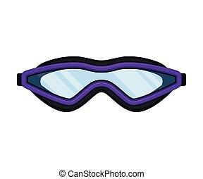 Purple mask for swimming. Vector illustration on white background.