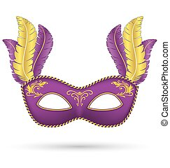 Purple mask with feathers