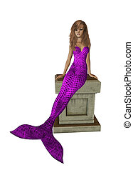 Purple Mermaid Sitting On A Pedestal - Purple mermaid...
