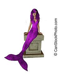 Purple Mermaid Sitting On A Pedestal - Purple mermaid...