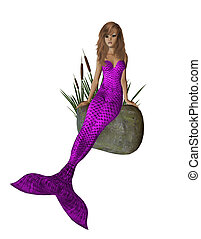 Purple Mermaid Sitting On A Rock
