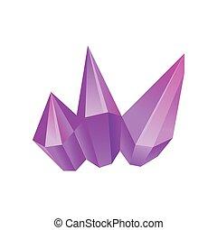 Purple mineral, crystal, gem, precious gemstone or semiprecious stone vector Illustration on a white background