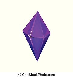 Purple mineral crystalic precious stone, crystal gem vector Illustration on a white background