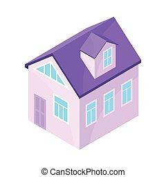 Purple model of a modern house. Vector illustration on white background.
