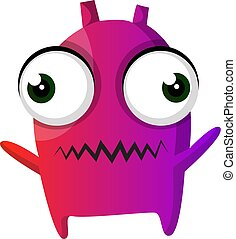 Purple monster with big eyes illustration vector on white background