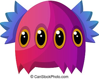 Purple monster with four eyes illustration vector on white background