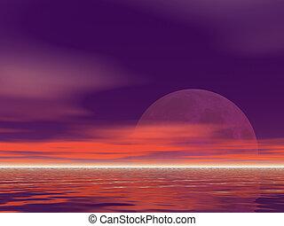 Purple Moonrise - A hugh brilliant purple moon rising
