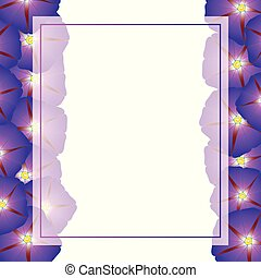 Purple Morning Glory Flower Banner Card Border. Vector...